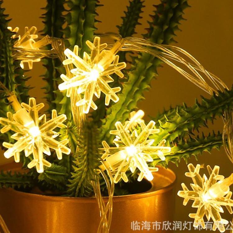 爆款led灯串圣诞雪花灯雪花造型装饰灯节日灯亚马逊爆款 户外