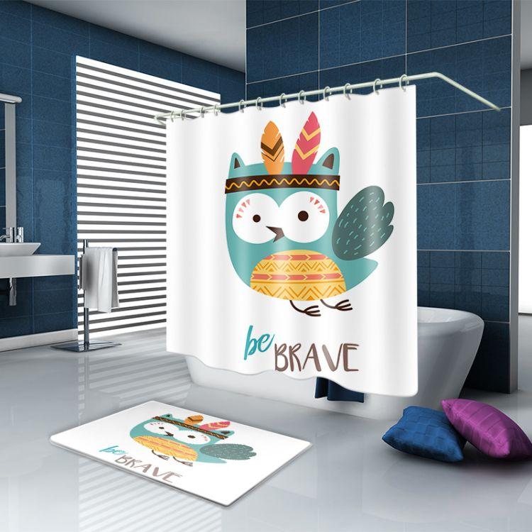 涤纶防水 加厚防霉防水 创意数码印花浴帘 浴室挂帘 隔断帘 批发