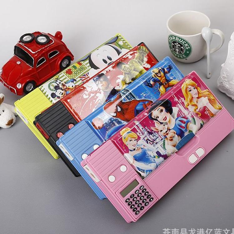 专业定制优质多功能塑料文具盒   卡通图案   大号铅笔盒