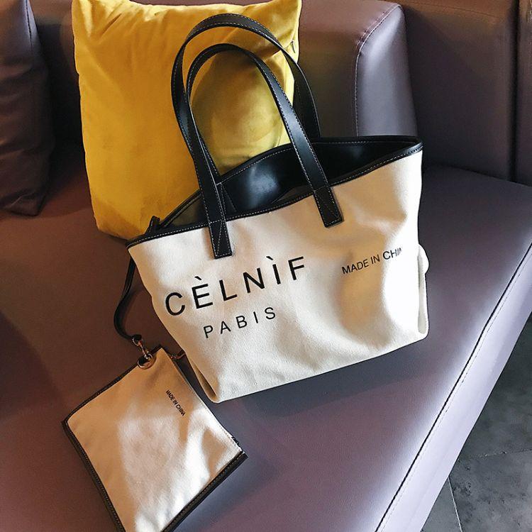 2018上新包包chic时尚简约帆布宋佳同款字母手提单肩女包一件代发