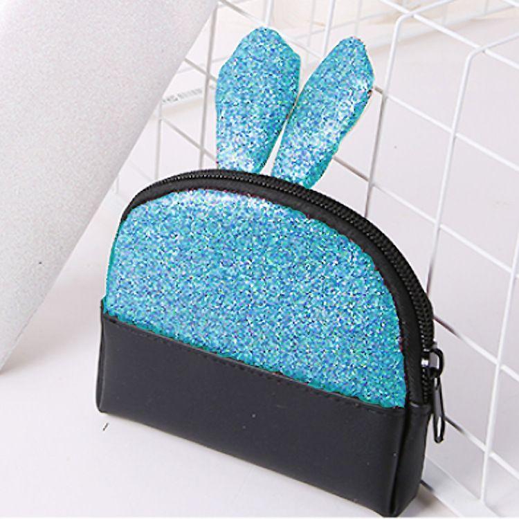 批发PU化妆包韩版小清新女亮片化妆包可爱兔子耳朵零钱包钥匙包