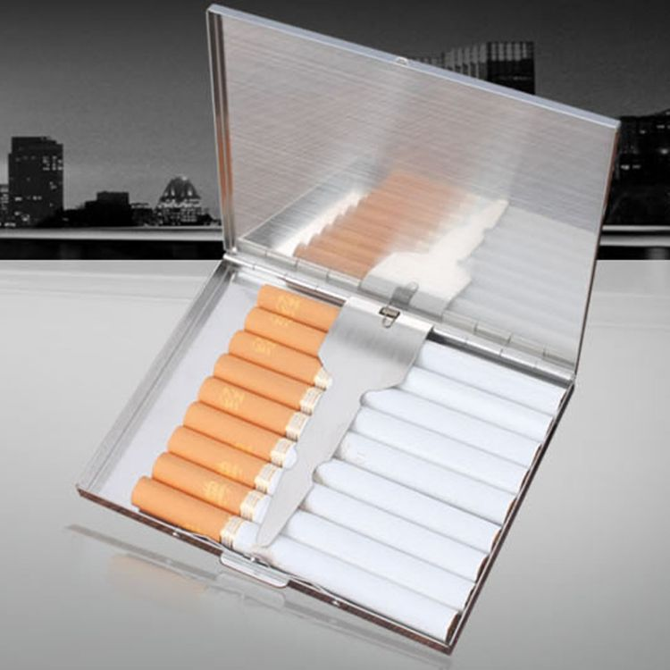 男女士薄烟盒9支装金属烟盒不锈钢烟夹香菸盒子个性创意翻盖