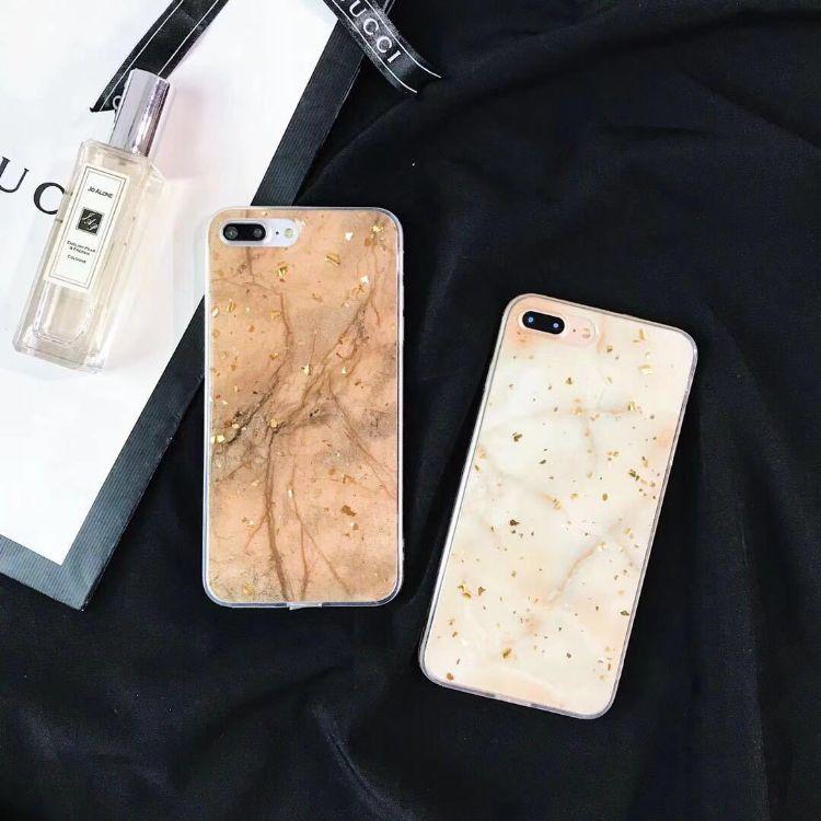 iphoneX铂金碎片闪粉手机壳 7plus大理石保护套 6s plus全包防摔