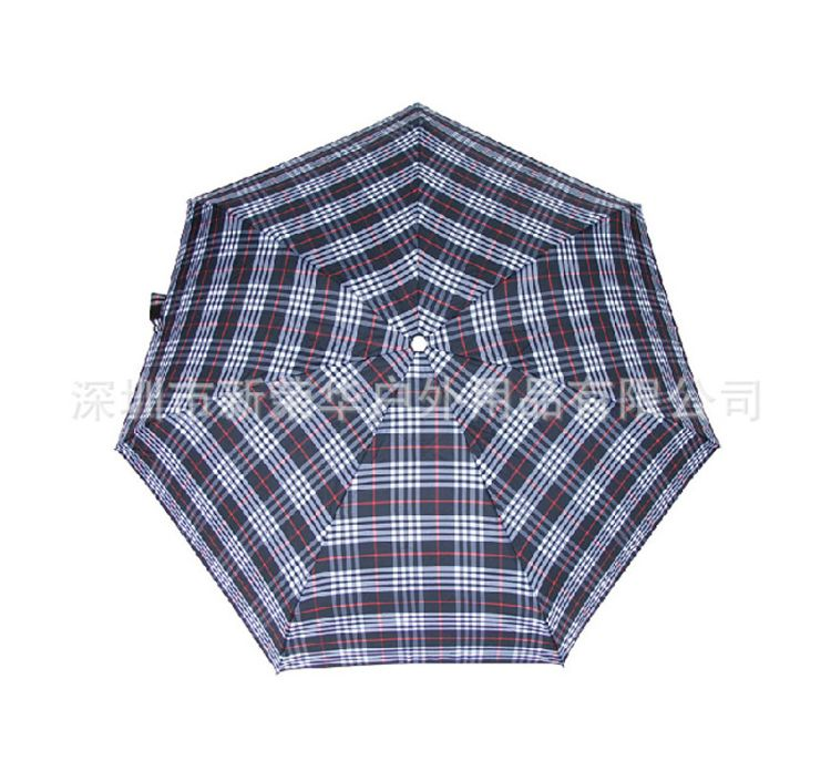 厂家直销出口创意五折伞 商务便携格子伞 礼品雨伞批发简约晴雨伞