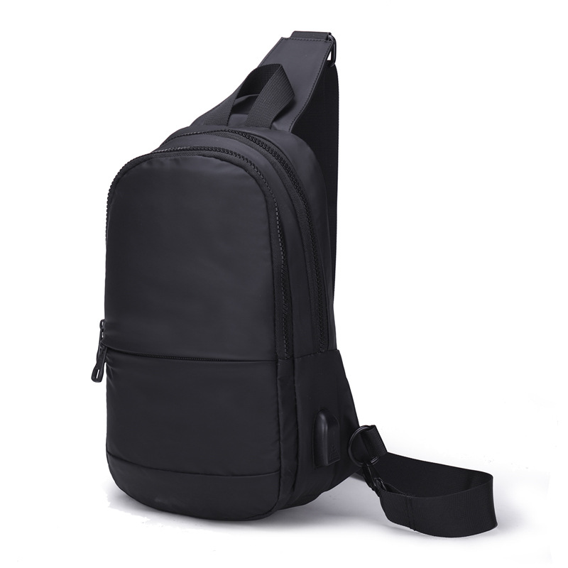 2019新款男士胸包 充电接口 韩版潮女士休闲单肩包运动小斜挎包