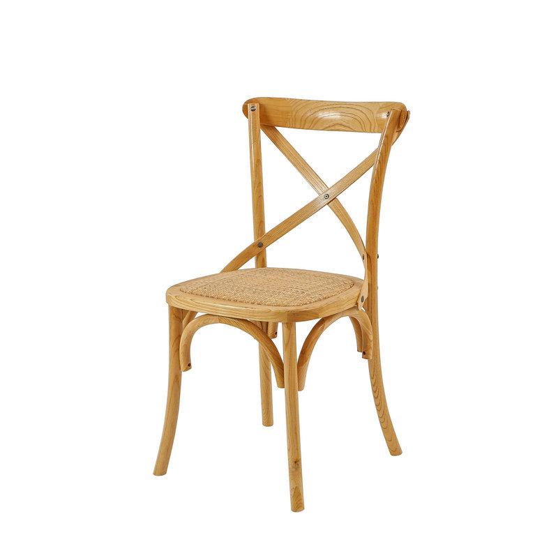 昌盛藤器 酒吧清吧背椅 交叉背椅 酒吧高吧椅实木 简约家用靠背藤椅