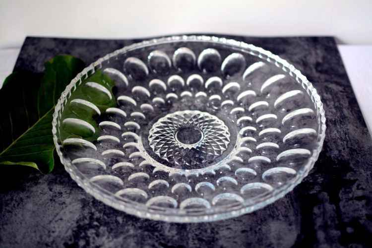 欧式鼓点果盘水晶玻璃材质家居送礼鼓点果盘婚庆家用厂家直销
