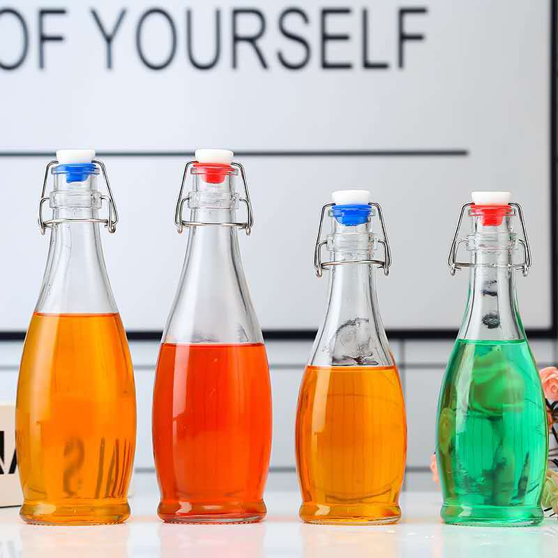 500ml卡扣饮料瓶密封玻璃瓶 350ml乐扣果汁果酒瓶酵素饮料玻璃瓶