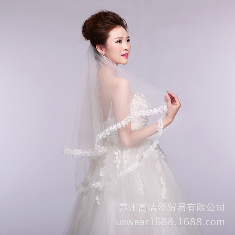 新娘婚纱时尚百搭配饰1.5米蕾丝花边头纱 厂家直销现货混批TS5006