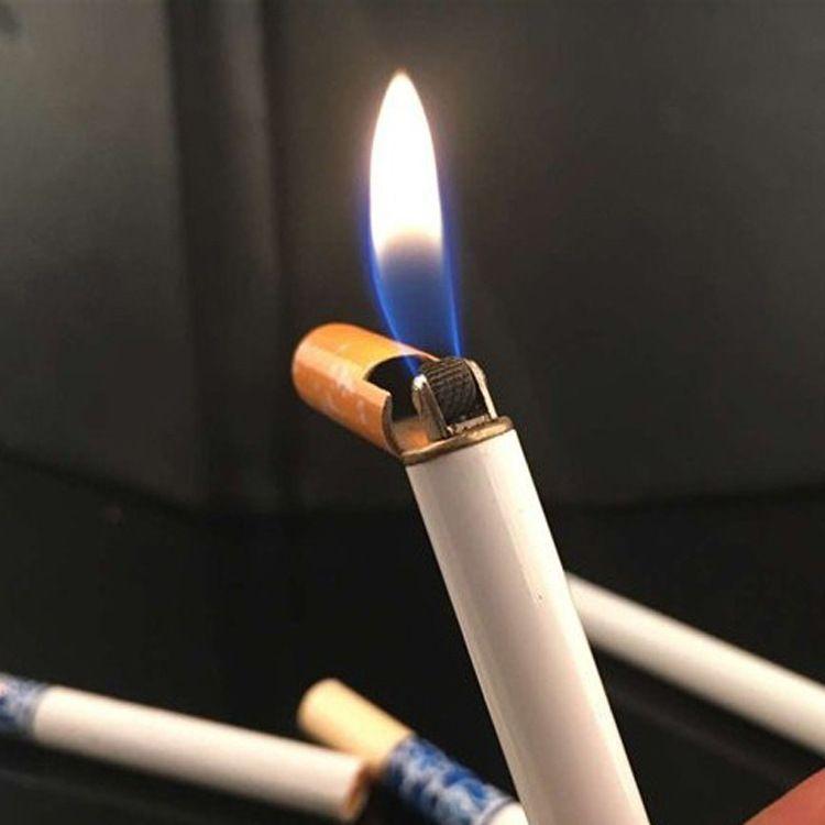 微商爆款仿真香烟打火机长条香烟明火打火机砂轮烟型广告礼品定制