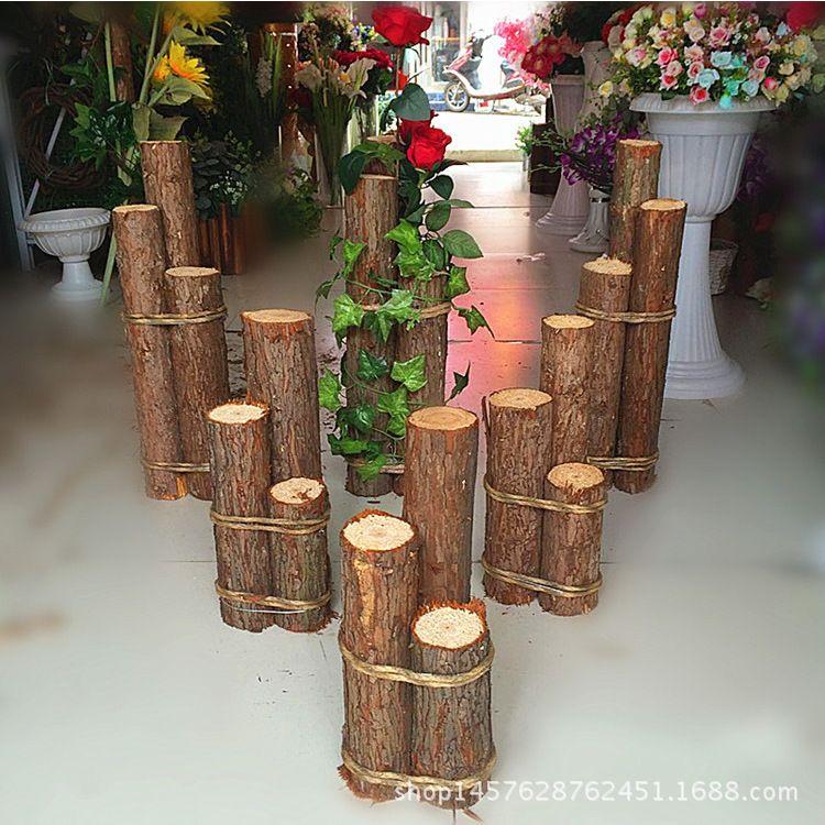 婚庆新款森系木门草坪路引拱门幸福门木桩花门树桩婚礼装饰道具