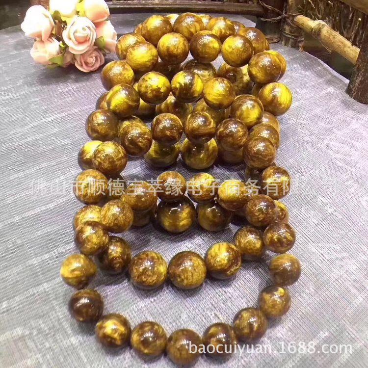 厂家批发珠宝饰品直销佛珠手串质地轻盈闪耀黑珊瑚金丝海柳手串