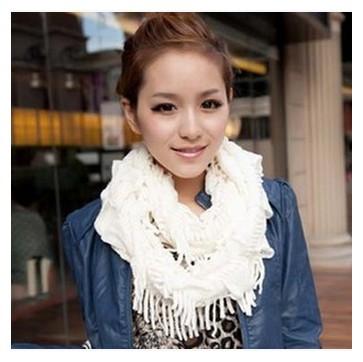 秋冬保暖套头女士围巾毛线围脖  纯色流苏脖套批发