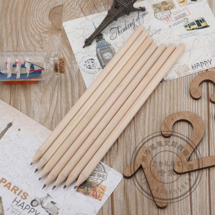 可定做长度原木白木短铅笔厂家自然纯木色 可按LOGO订做