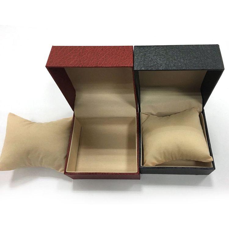 厂家直销高档黑色手表盒首饰 现货手表盒围条 经典红色方盒收纳盒