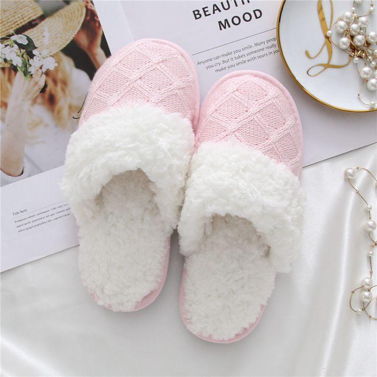 冬季保暖羊羔绒塑料底棉拖鞋