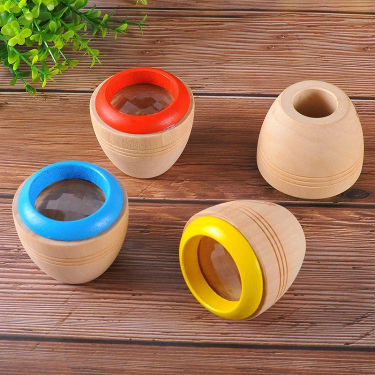 木制迷你神奇万花筒多棱镜儿童观看蜂眼效果木质传统休闲玩具