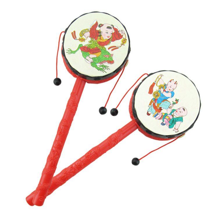 厂家直销吉祥拨浪鼓儿童乐器手鼓宝宝摇鼓中国经典传统玩具货源