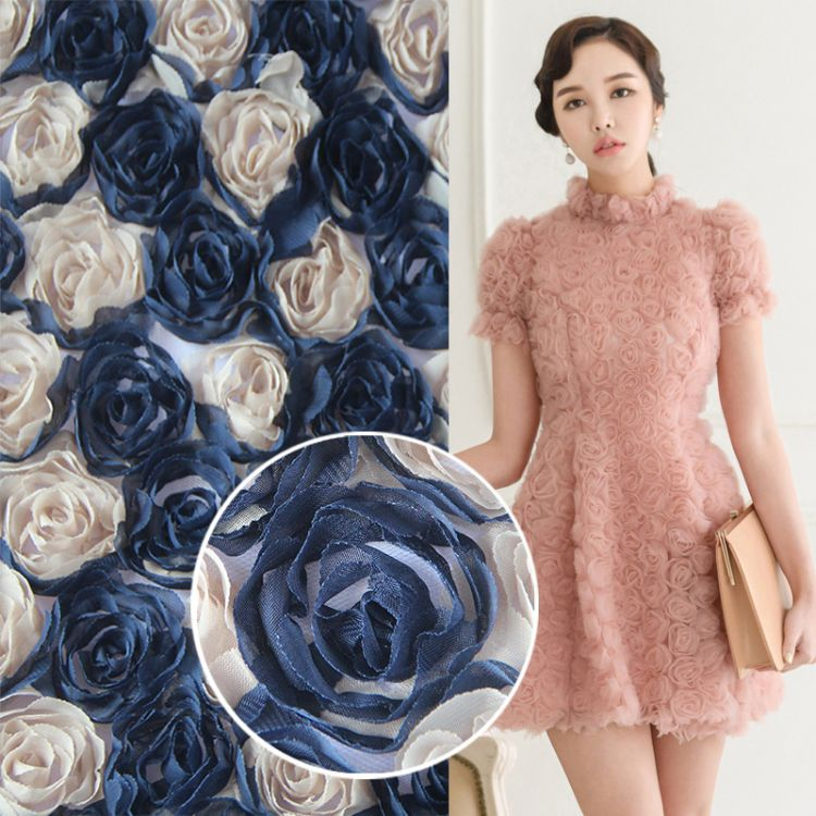 雪纺花边网布蕾丝面料立体玫瑰花花朵服装辅料婚纱礼服涤纶布料