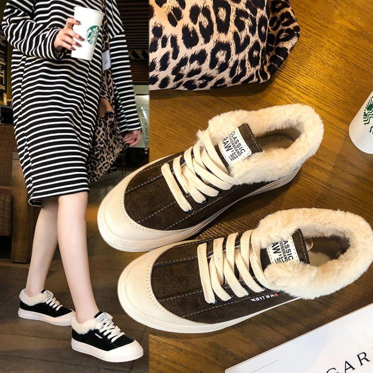 2018网红街拍小黑鞋平底毛毛鞋运动板鞋韩版学生鞋加绒保暖棉鞋女