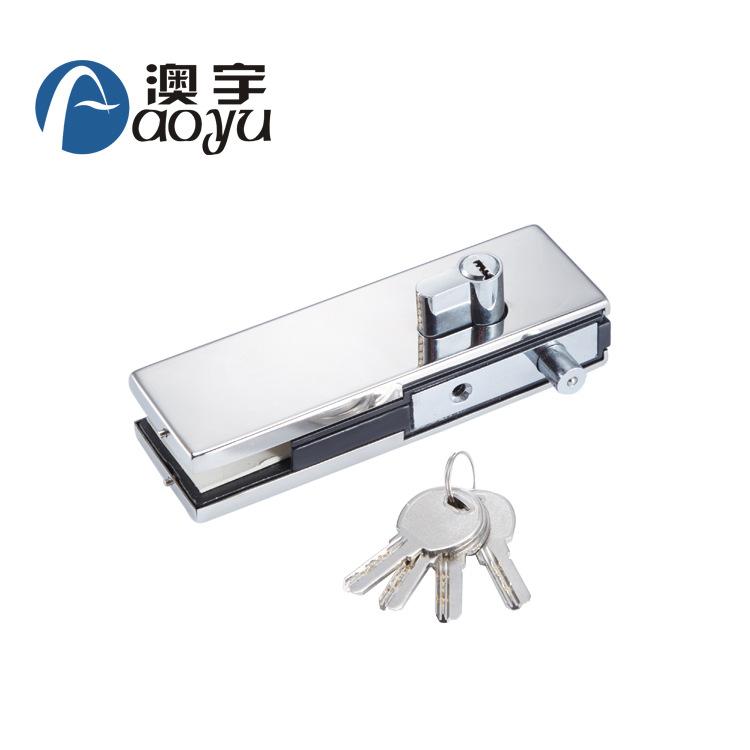厂家直销玻璃门夹304不锈钢板铝合金芯无框玻璃门配件锁夹