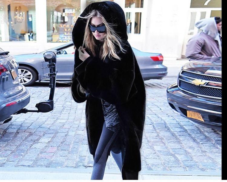 秋冬加厚欣雨GiGi同款皮草外套黑色长款外套毛毛宽松连帽皮草大衣