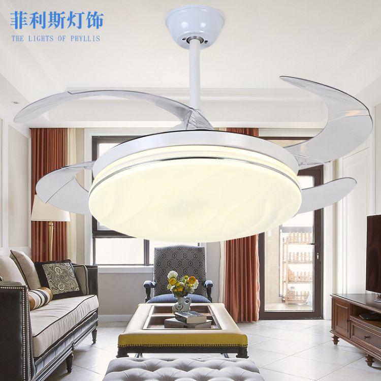 现货+定制现代LED隐形风扇灯卧室客厅餐厅白色创意亚克力风扇灯