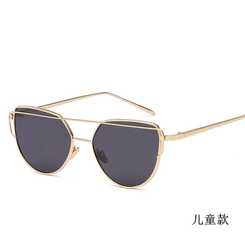 新款左岸潇同款儿童太阳镜金属时尚墨镜蝴蝶太阳镜儿童眼镜