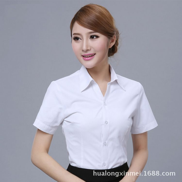 厂家加工定制可绣logo短袖衬衫女 职业装百搭修身工作服 一件代发