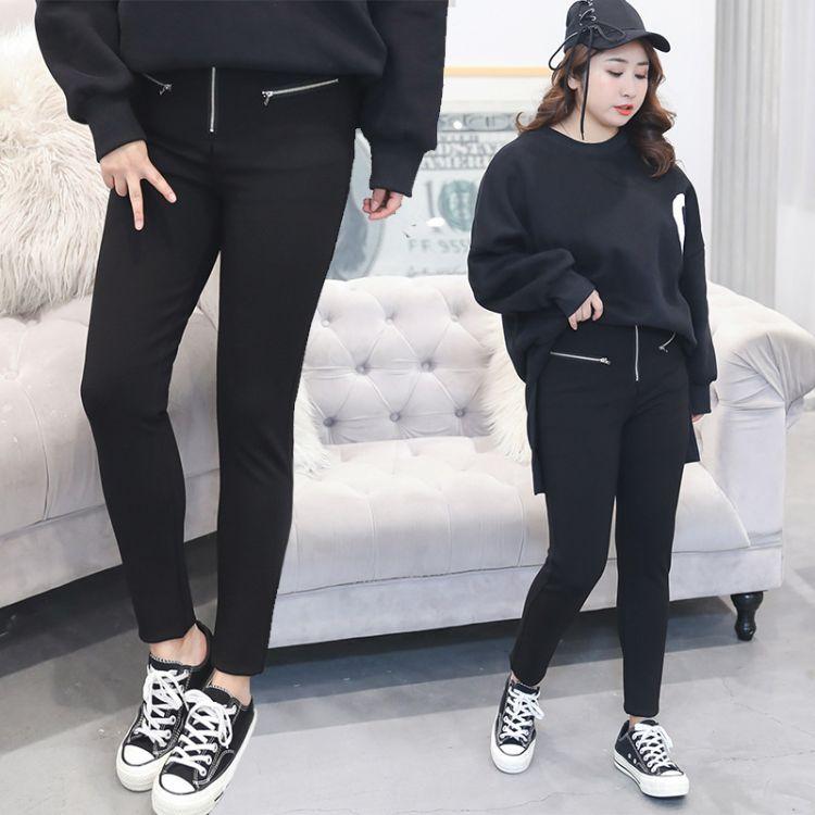 韩版纯色2018春季拉链大码女装 宽松xxxxl胖mm女式休闲裤代发K282