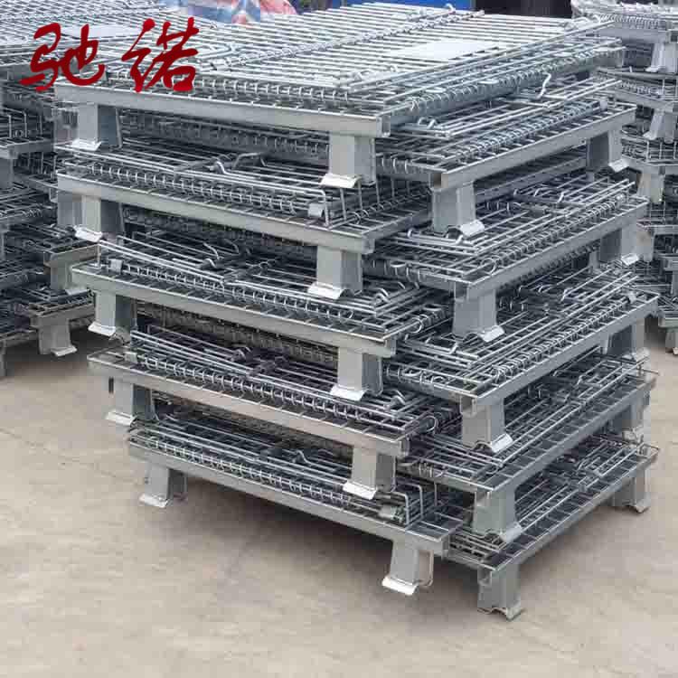 厂家直销钢丝周转框折叠式仓储笼镀锌储物箱铁丝蝴蝶笼现货可定制