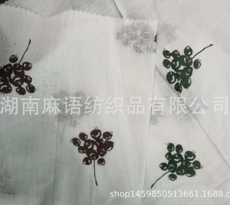 少量现货  麻棉印花透气轻薄面料 小清新时尚经典棉麻面料