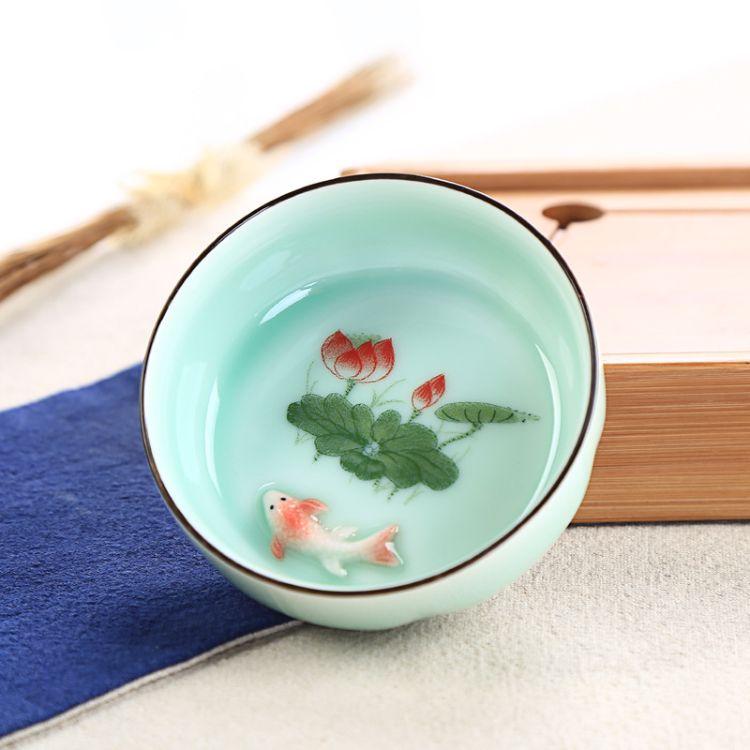 龙泉青瓷鲤鱼杯 手绘品茗杯 大号茶杯 创意礼品杯中有鱼厂家直销