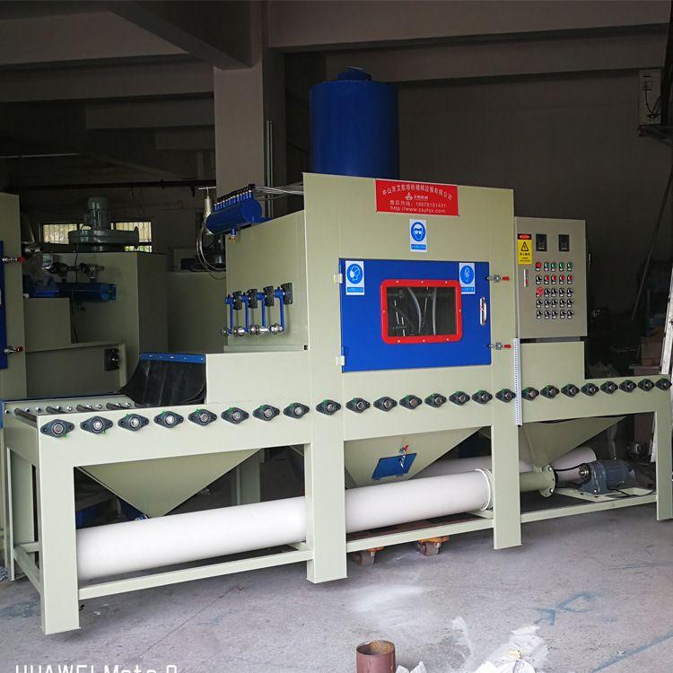 佛山喷砂机实木家具喷砂打磨机木材打磨底漆输送式自动喷砂机