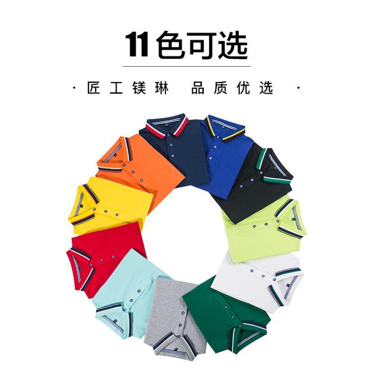 2019新款厂家供应翻领广告T 文化T定制铜氨珠地棉 短袖工衣可定