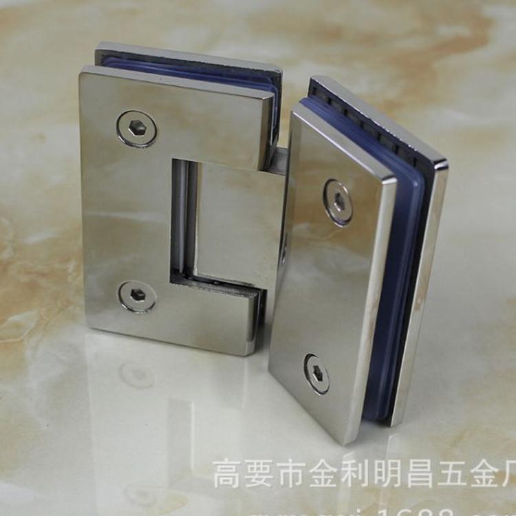 精铸304不锈钢浴室夹 无框门玻璃夹 淋浴房玻璃合页铰链双边135度