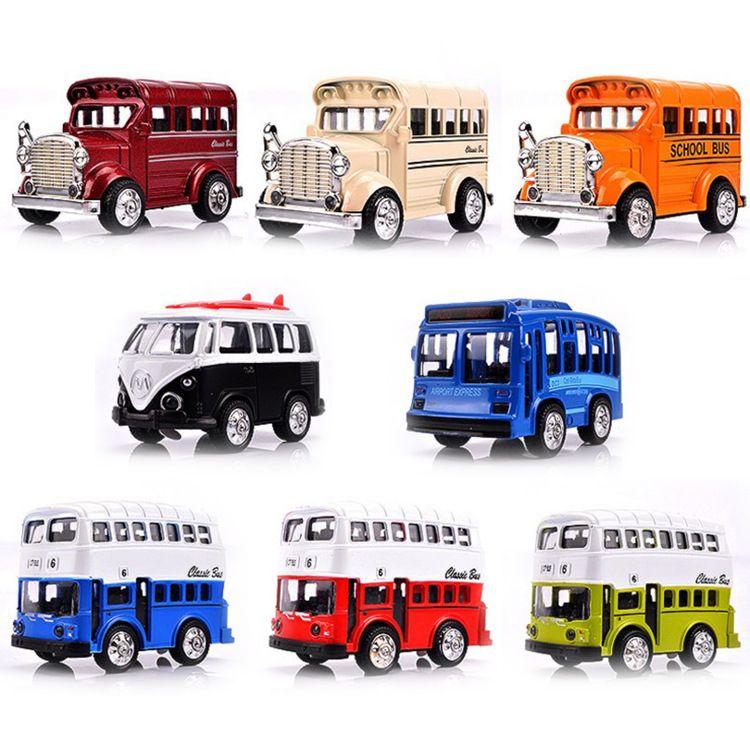 巴士儿童玩具批发价格 合金迷你Q版小回力车模型批发零售