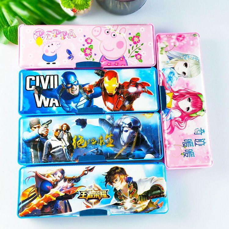 小学生男孩女孩儿童双面塑料铅笔吃鸡小猪 社会人笔盒幼儿园礼物