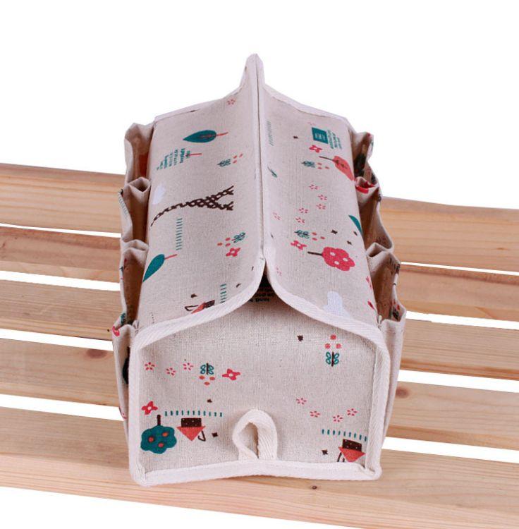 zakka创意棉麻布艺纸巾盒多功能六袋纸巾抽纸盒桌面收纳盒收纳袋