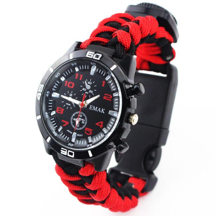户外用品装备攀爬登山伞绳求生手表学生男士手表带欧美风流行
