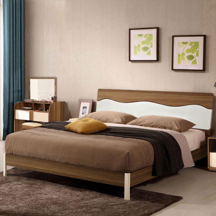 小户型北欧床卧室酒店公寓套房家具板式床1.8米双人床1.5米单人床
