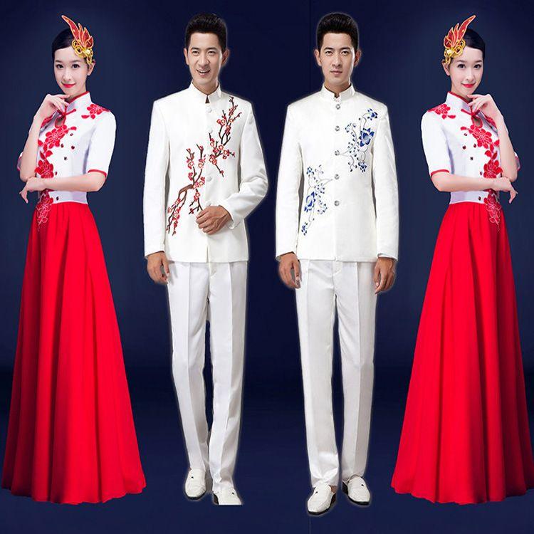 现代合唱服女长裙大合唱演出服装女成人现代修身礼服亮片表演服装