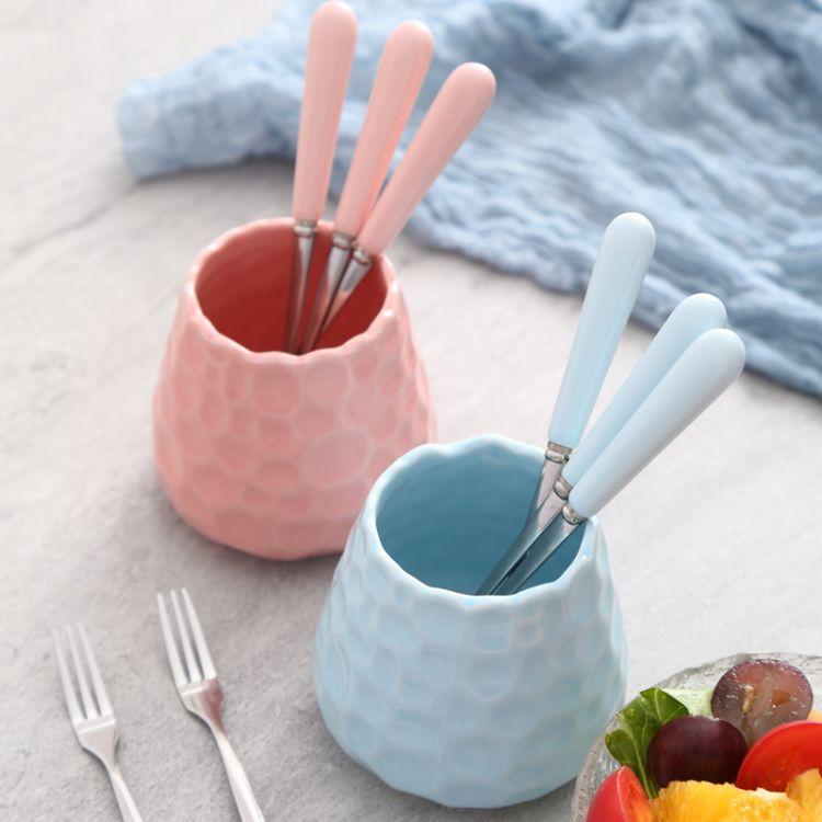 淘宝热卖纯色创意陶瓷柄小叉子不锈钢水果叉果签点心月饼叉咖啡勺