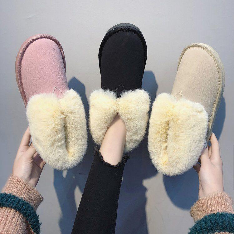 冬季雪地靴毛毛一体中筒加绒加厚女2018新款短筒面包棉鞋短靴子