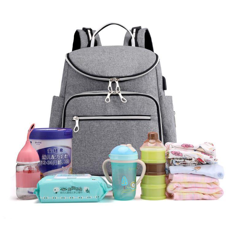 现货批发2018新款双肩包多功能妈咪包大容量防水母婴包时尚背包