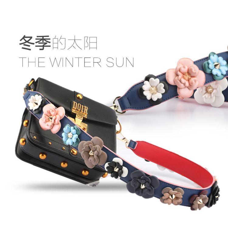 冬季新款海绵立体花朵时尚包带单肩斜挎两用包带冬季时尚包带