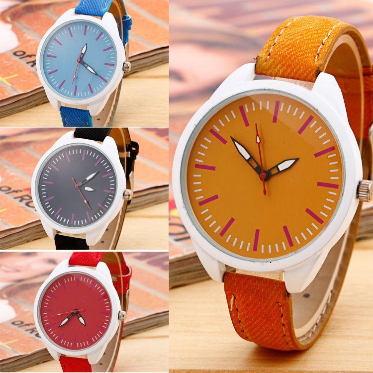 工厂批发牛仔布皮带手表 女款细带皮带手表 时尚颜色多选