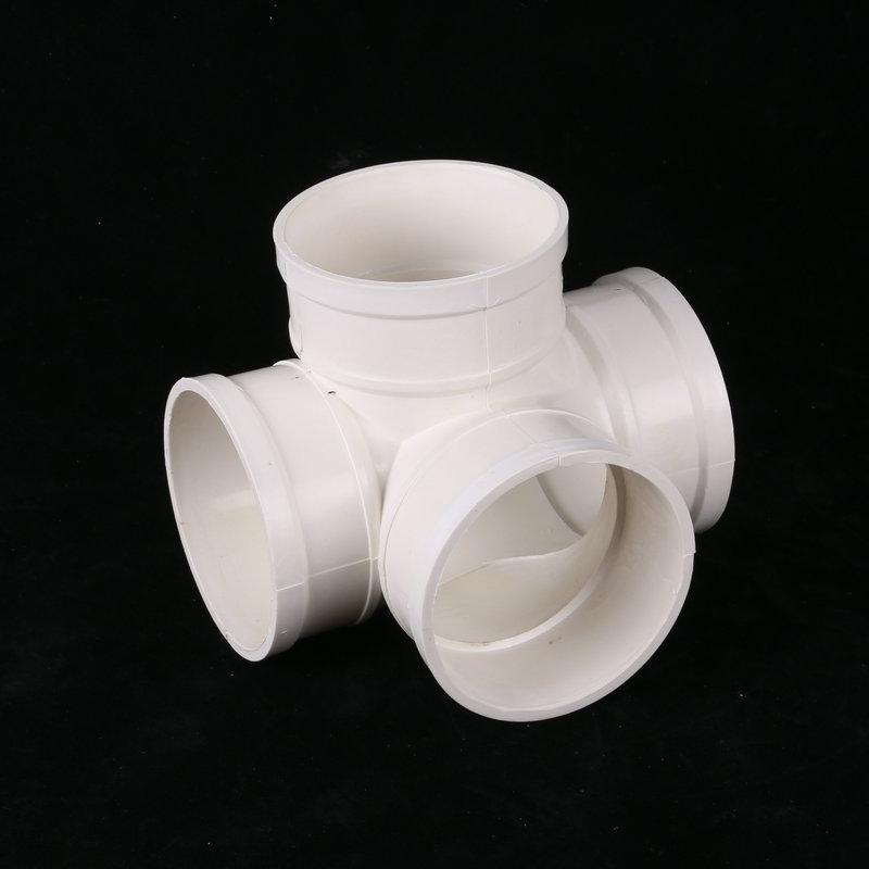 白色PVC排水立体四通 四通管件PVC排水管件批发