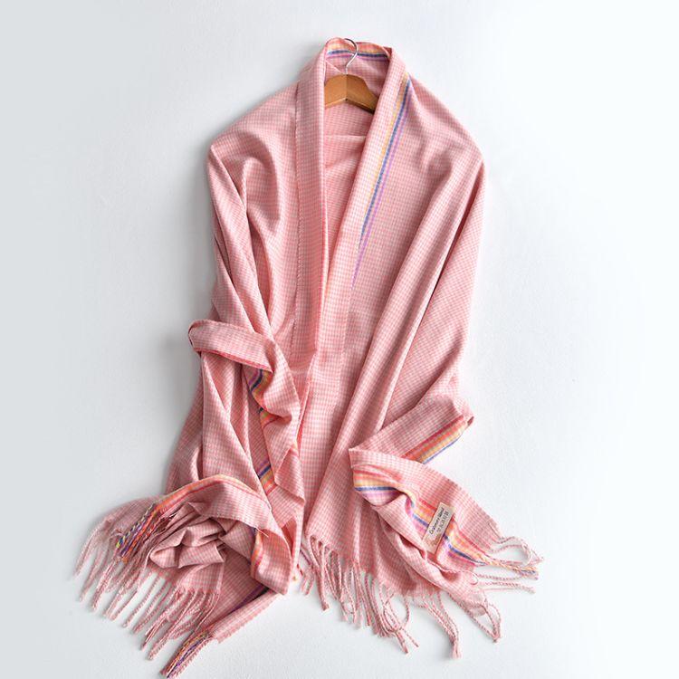 秋冬围巾新款千鸟格格子长款加厚流苏仿羊绒披肩冬季韩版女士围脖