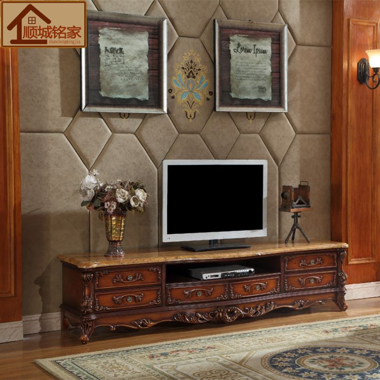 欧式大理石茶几电视柜组合 实木雕花仿古高档客厅地柜视听柜